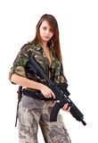 Young woman soldiers with guns royalty free stock images