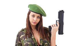 Young woman soldiers with guns Royalty Free Stock Image
