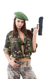 Young woman soldiers with guns Royalty Free Stock Photography