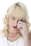 Young Woman With Sore Eyes Crying Stock Photography
