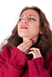 Young woman with sore throat royalty free stock photography