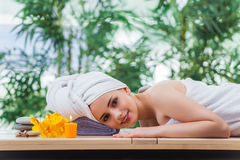 The young woman in spa concept Stock Image