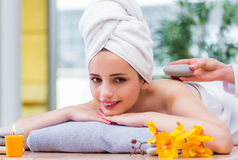 The young woman in spa concept Stock Photography