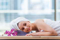 The young woman in spa concept Stock Images