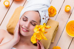 The young woman in spa health concept Stock Image
