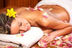 Young woman in Spa massage salon. royalty free stock photo