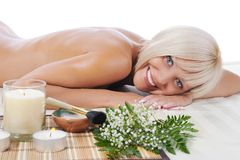 Young woman at spa procedure Royalty Free Stock Photos