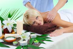Young woman at spa procedure Royalty Free Stock Image