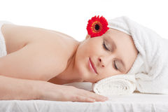 Young Woman in Spa Relaxing Stock Images