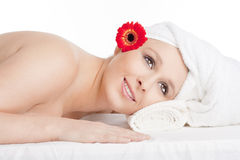 Young Woman in Spa Relaxing Stock Photos