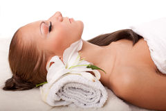Young woman in spa salon Stock Photo