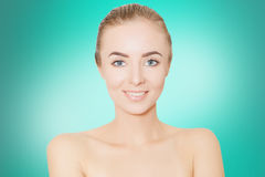 Young woman spa skin concept, photo over blue background Royalty Free Stock Photo