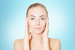 Young woman spa skin concept, photo over blue background Royalty Free Stock Photography