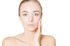 Young woman spa skin concept, photo over white background Royalty Free Stock Images