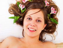 Young woman in spa studio Royalty Free Stock Photography