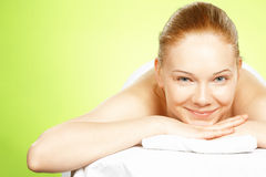 Young woman on spa treatment Stock Photos