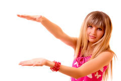 Young woman with space between hands isolated Stock Images