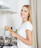 Young woman with spaghetti Royalty Free Stock Image