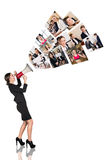 Young woman speak to megaphone. Young business women speak to megaphone with people collage. Business concept Royalty Free Stock Images