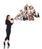 Young woman speak to megaphone Royalty Free Stock Image