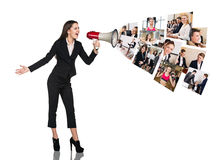 Young woman speak to megaphone. Young business women speak to megaphone with people collage. Business concept Stock Images