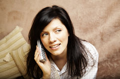 Young woman is speaking. On cell phone Stock Image