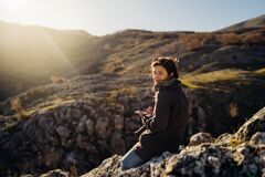 Free Young Woman Spending Free Time In National Park/mountains.Hiking Outdoor Experience.Nature Adventure.Woman Appreciating Nature And Stock Photography - 181579702