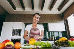 A young woman spends time at home, in the kitchen and in the roo. The young woman cuts vegetables in the kitchen with a knife. Healthy Food - Vegetable Salad Stock Photos