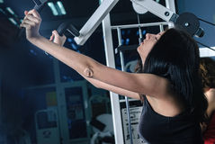 Young woman in sport club Stock Photo