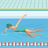 Young woman in sports swimsuit swims in the pool front crawl. Style. Flat cartoon  illustration Royalty Free Stock Photo