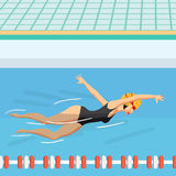 Young woman in sports swimsuit swims in the pool front crawl. Style. Flat cartoon  illustration Stock Photography