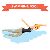 Young woman in sports swimsuit swims in the pool front crawl. Style. Flat cartoon isolated  illustration Stock Image
