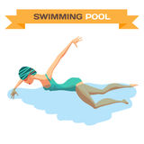 Young woman in sports swimsuit swims in the pool front crawl. Style. Flat cartoon isolated vector illustration Royalty Free Stock Photos