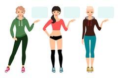 Young woman in sportswear presentation royalty free illustration