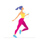 Young woman in sportswear running. Morning running. Girl. With player running Royalty Free Stock Photos