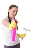 Young woman with spray bottle and brush Royalty Free Stock Photos