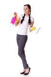 Young woman with spray bottle and brush Royalty Free Stock Photo