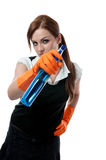 Young woman with spray bottle and brush Stock Photos
