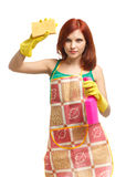 Young woman with spray bottle and sponge. Stock Photos