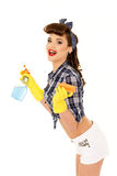 Young woman with spray bottle and sponge. Stock Photography
