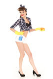 Young woman with spray bottle and sponge. Royalty Free Stock Images