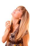 Young woman spray with perfume isolated Stock Photo