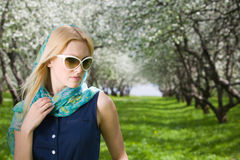 Young woman at spring park Royalty Free Stock Photo