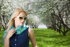 Young woman at spring park Royalty Free Stock Photo