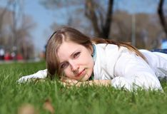 Young woman in spring park Stock Image