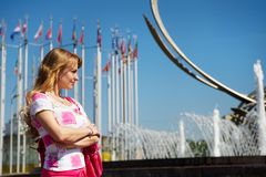 Young woman on square of Moscow city Royalty Free Stock Image