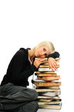 Young woman with stack of books Stock Image