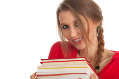Young woman with stack of books Stock Images