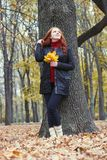 Young woman stand near tree in autumn park, yellow leaves royalty free stock photos
