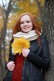 Young woman stand near tree in autumn park, yellow leaves royalty free stock images